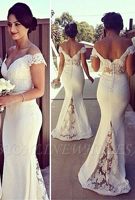 SELENE | Mermaid Off-shoulder Sweetheart Sheer Lace Appliques Prom Dresses