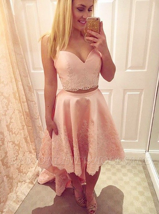 Chic Hi-Lo Pink Homecoming Dresses | Two Pieces Appliques Hoco Dresses