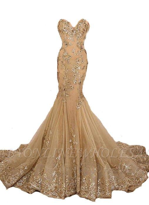 Gold Spitze-Applikationen Lace-Up Schatz-Neck Meerjungfrau lange Prom Kleider