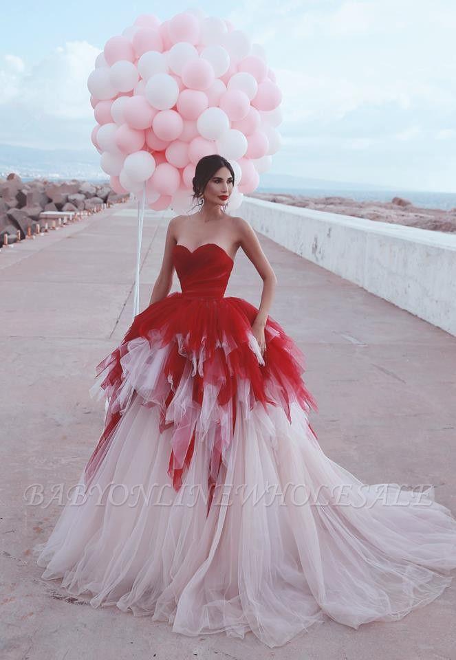 2021 Sweetheart Red Puffy Tulle Robes de soirée sexy | Robes de bal sans manches à plusieurs niveaux pas cher en ligne