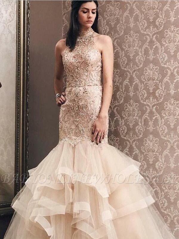 Элегантное Русалка Светлое Шампанское Тюль с Высоким Вырезом Платье для Бисера | Вечернее платье