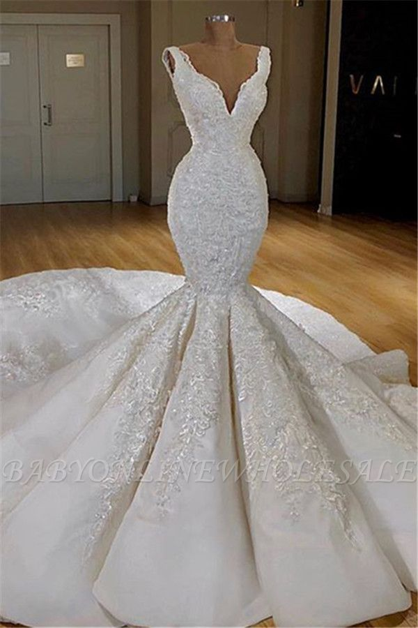 Sexy Mermaid Lace Wedding Dresses Online | Straps Luxury Bridal Gowns with Long Train
