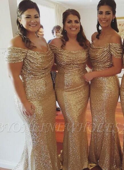 Gold Sequins Bridesmaid Dresses Off the Shoulder Sexy Mermaid Maid of the Honor Dresses BA3186