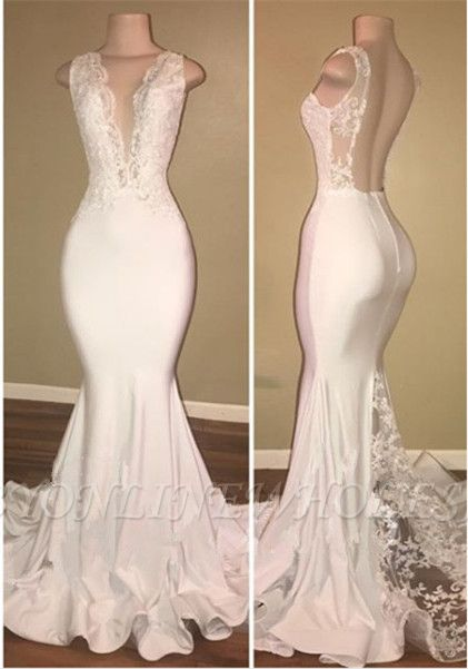 Elegant White Lace Evening Dress Mermaid Lace Backless Party Gowns BA7772