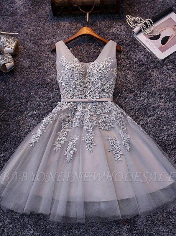 Silver Grey Lace Homecoming Dress Cheap   Sleeveless Tulle Short Hoco Dress