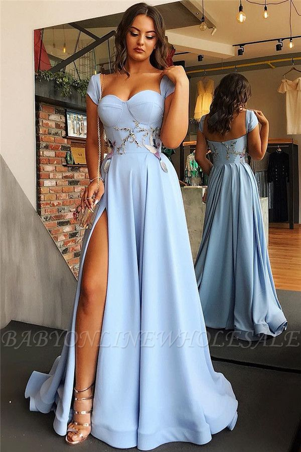 Cap Sleeves Open Back Blue Evening Dress Cheap | Sexy Side Slit Appliques Prom Dresses Online