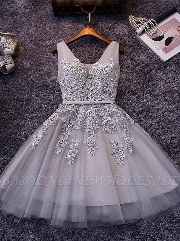 Silver Grey Lace Homecoming Dress | Sleeveless Tulle Short Hoco Dress
