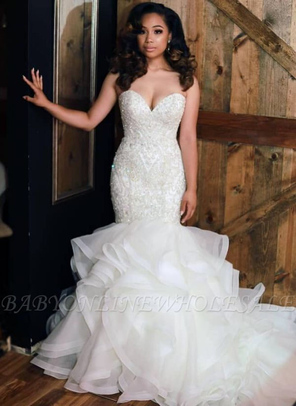 Luxury Mermaid Beading Wedding Dresses   Sweetheart Neck Ruffles Skirt Bridal Gowns