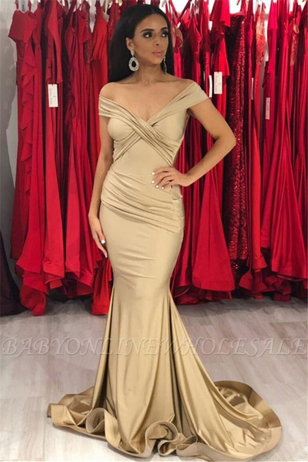Sexy Gold Off the Shoulder Cap sleeves Evening Dresses | Mermaid Prom Dresses with Soft Pleats