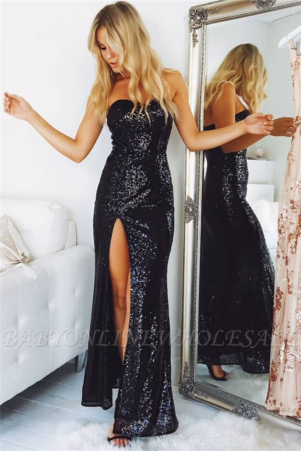 Strapless Side Slit Black Sequins Formal Dresses | Sexy Long Evening Dresses
