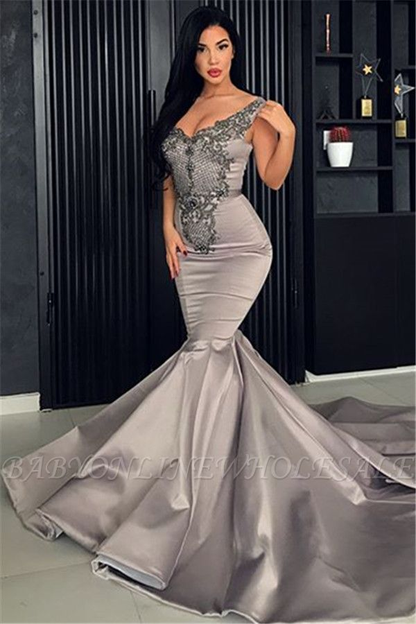 Hot V-Neck Silver Sleeveless Beaded Evening Dresses | Mermaid Beaded Appliques Evening Gowns