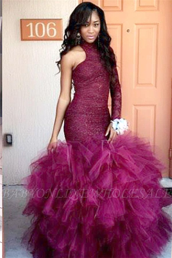 High-Neck One-Sleeve Sheath Lace Puffy Tulle Specail Latest Prom Dress