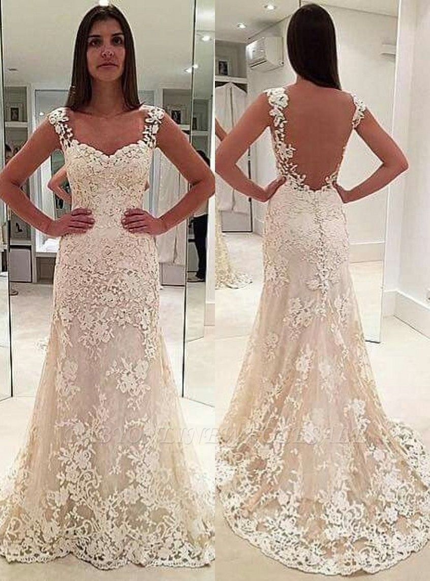 Elegant Lace Straps Sleeveless Backless Mermaid Wedding Dresses