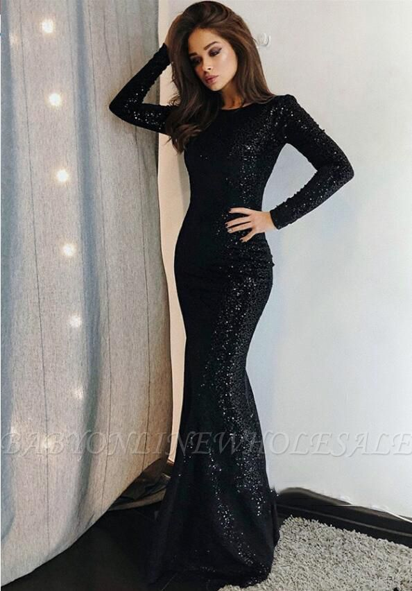 862e7dacfc4e9 Sexy Mermaid Black Sequins Long-Sleeve Prom Dresses