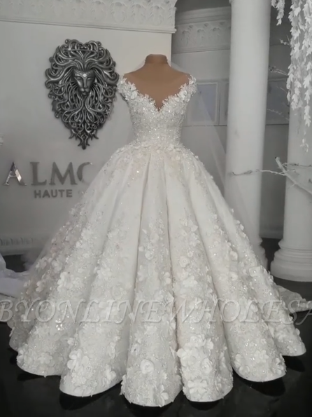Gorgeous Ball Gown Wedding Dresses   Off-the-Shoulder Floral Beading Bridal Gowns