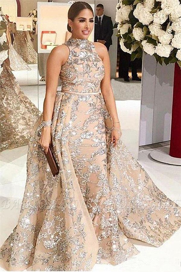 Silver Beading Lace Appliques Sexy Sleeveless Prom Dresses | Overskirt Champagne Evening Gown