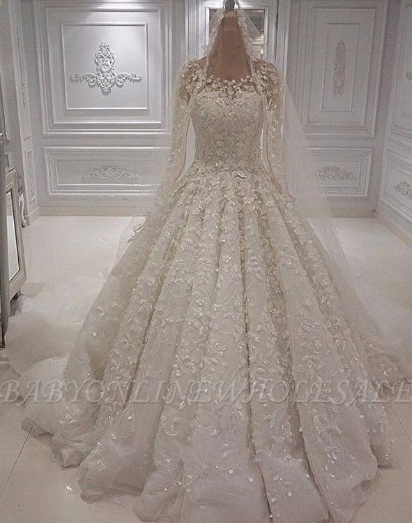 Gorgeous Crew Neck Long Sleeve Lace Appliques Wedding Bridal Dress|Elegant Ball Gown Sweep Train BC1244