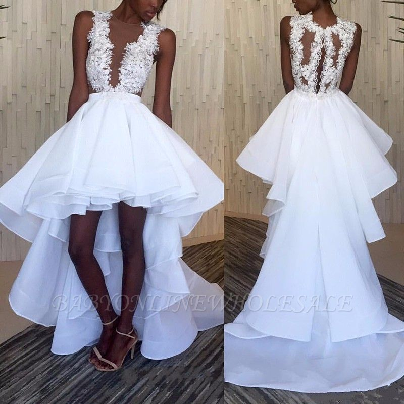 White Hi-Lo Sleeveless Lace Appliques Ruffles Wedding Dress