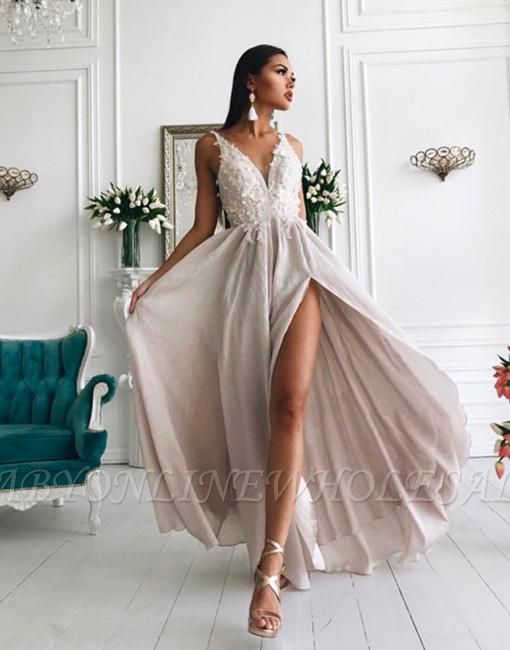 Chiffon sexy en mousseline de soie robes sexy de fente pas cher | Dentelle appliques robe de soirée longue populaire