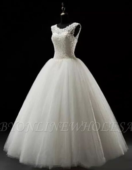 Simples A-Line Lace Wedding Dresses Lace-up Floor Length Bridal Gowns