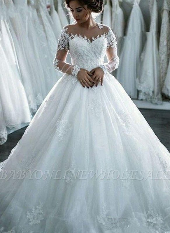 Sheer Lace Long-Sleeves Beaded Ball-Gown Wedding Dresses