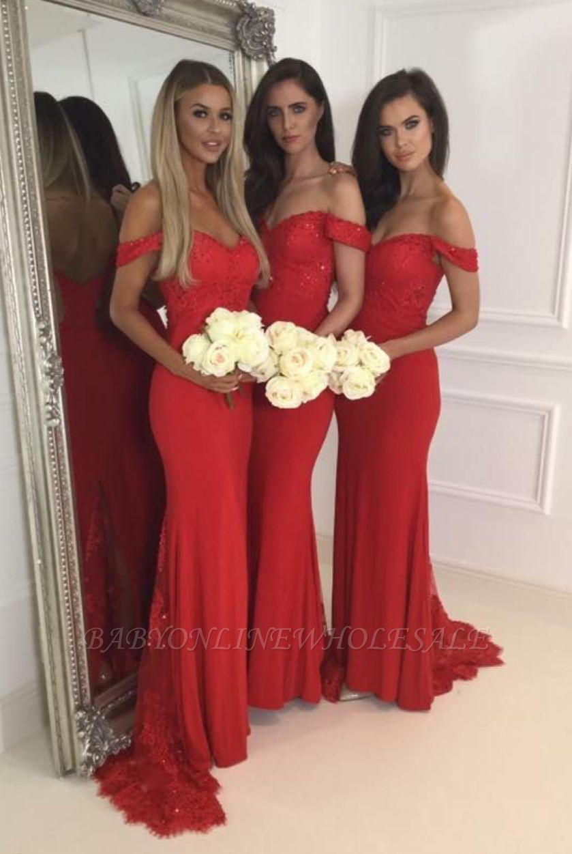Red Long Lace off-Shoulder Zipper Back Bridesmaid Dresses