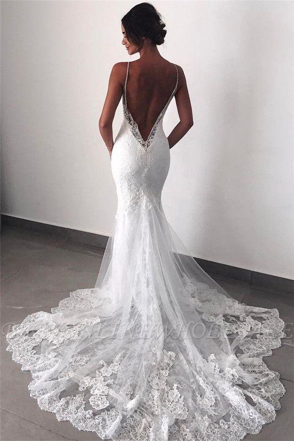 Backless Wedding Dresses Lace Mermaid   Sexy Spaghetti Straps Bride Dress Cheap