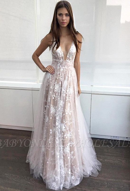Deep-V-Neck Lace-Appliques Layers Sexy A-line Prom Dresses