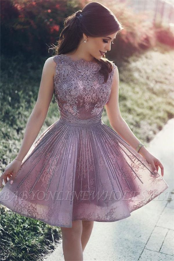 Lace Appliques Open Back Sexy Homecoming Dresses Short Hoco Dresses Online