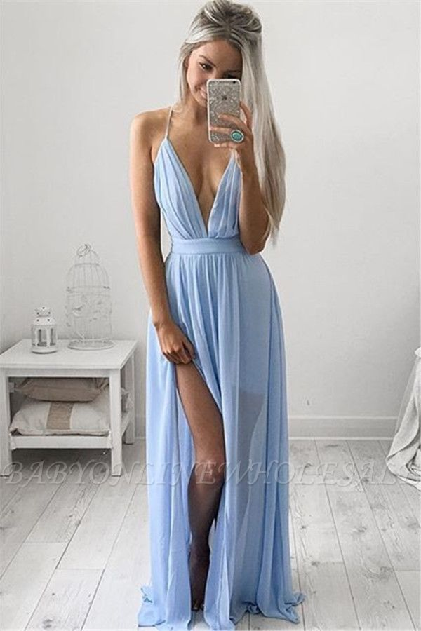 Deep V-neck Sexy Evening Dress Spaghetti Straps baby Blue Prom Dresses CE054