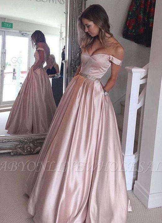 Bolsillos abalorios abotonados fuera de los hombros abalorios con cuentas Vestidos de baile