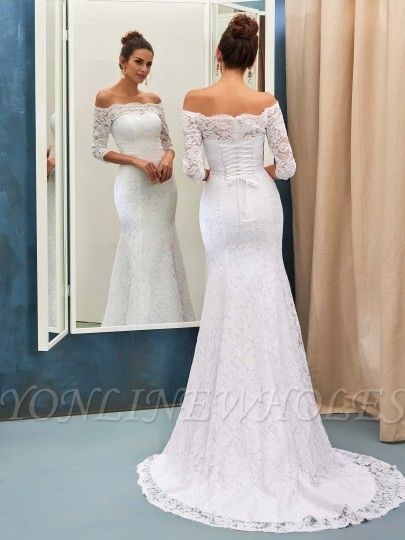 Sheath-Column Sweep-train Off-the-shoulder Half-sleeves Lace-up Simple Wedding Dress