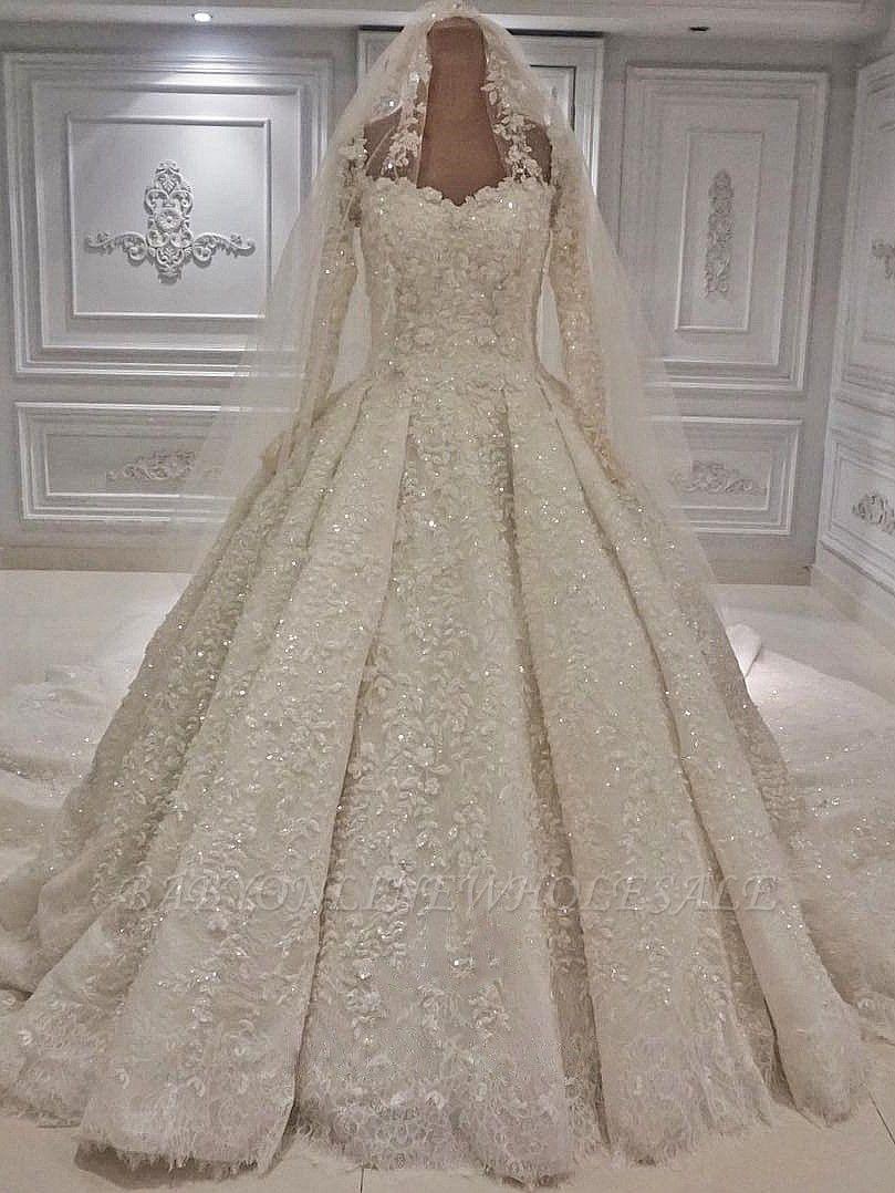 Costoso encaje 3-D flores mangas largas vestido de novia vestido de bola