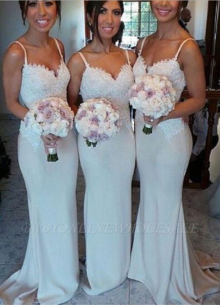 Spaghetti Strap Mermaid Floor Length Bridesmaid Dresses Open Back Lace Wedding Party Dresses BO9564