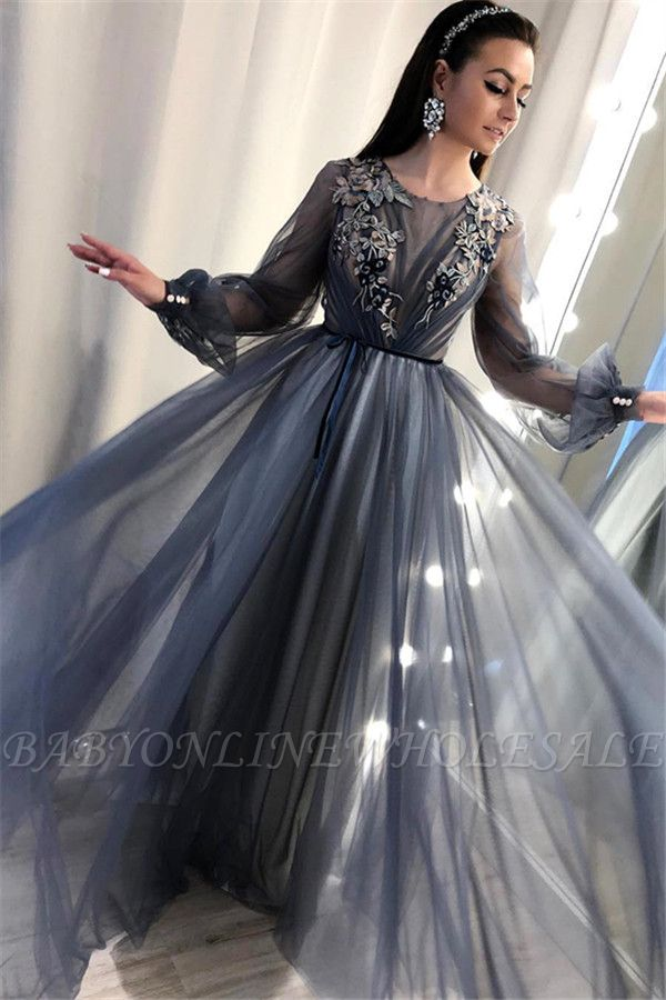 Trendy A-Line Tulle Evening Dresses | Long Sleeves Applqiues Affordable Prom Dresses