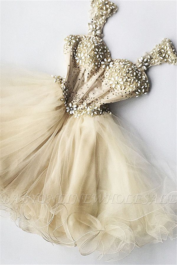 Beaded Flowers Champagne Homecoming Dresses cheap Organza Short Appliques Hoco Dress