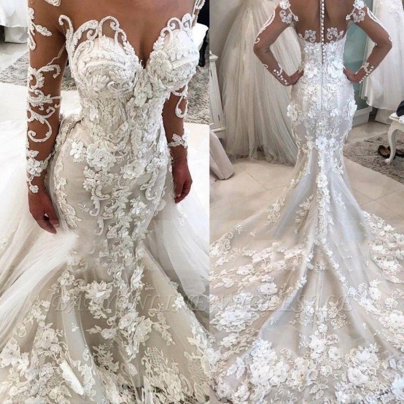 Delicate Lace Appliques Mermaid Wedding Dress Long Sleeve Bridal Gown Ba9786 Babyonlinewholesale
