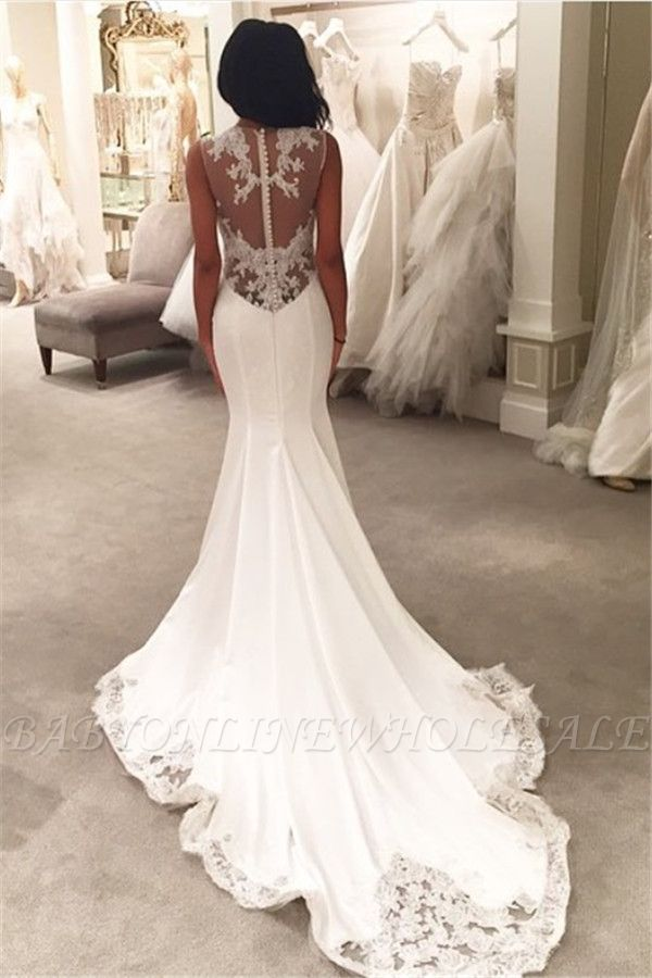 Sexy Mermaid Wedding Dresses Sheer Mesh Bridal Gowns with Lace Court Train BA3369