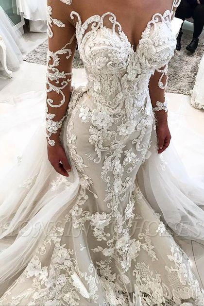 Delicate Lace Appliques Mermaid Wedding Dress | Long Sleeve Bridal Gown BA9786