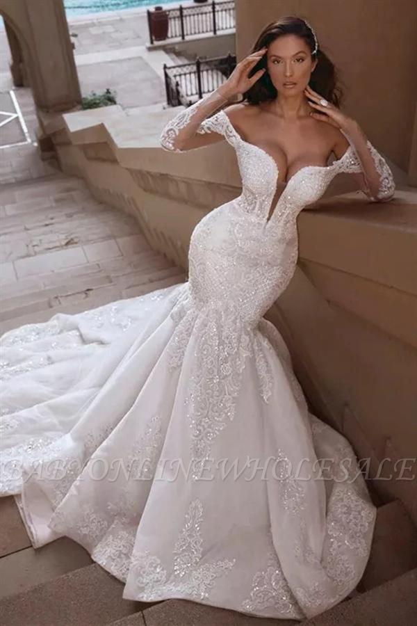 Cap sleeves Mermaid Long Train White Wedding Dresses Online