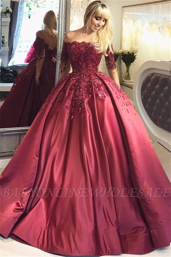 Burgundy Off-the-Shoulder Long-Sleeves Crystal Appliques Ball Prom Dresses