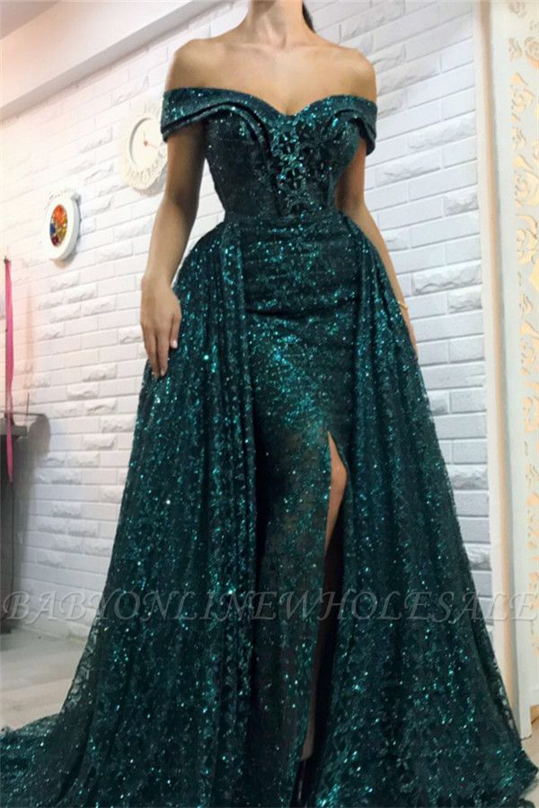 Vert foncé hors l'épaule paillettes robes de soirée longues | Robes de bal de gaine fendues overskirt bal 2021
