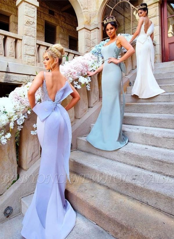 Fairy Mermaid Bowknot Open-Back Lace-Appliques Bridesmaid Dresses