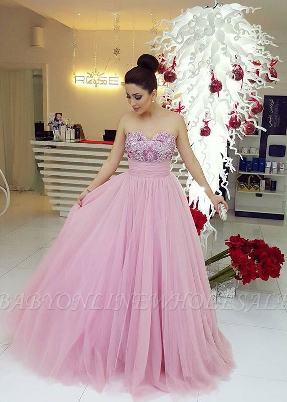 Amazing Sweetheart Beadings Fairy Tulle Long Prom Dress