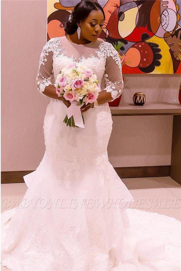 Half-Sleeve Scoop Mermaid Lace Appliques Sheer Tulle New Wedding Dresses