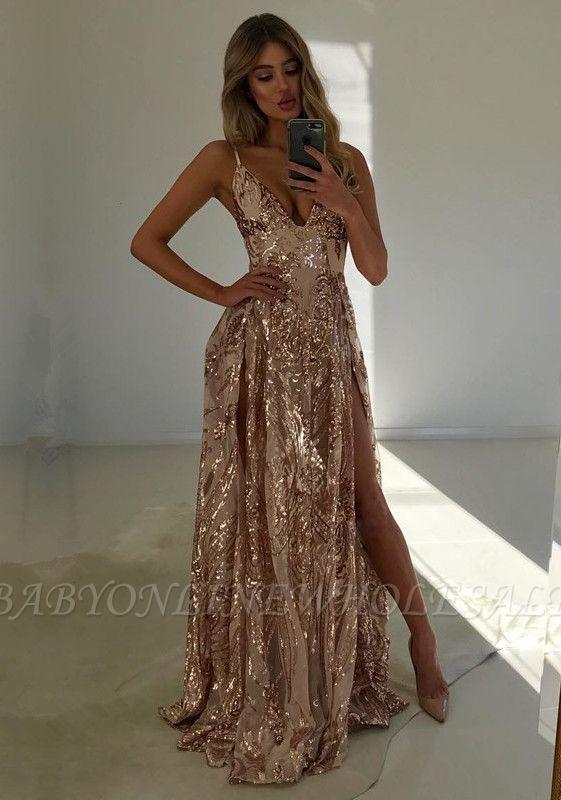Wunderschöne V-Ausschnitt Pailletten Abendkleid   2021 Abendkleid mit Schlitz