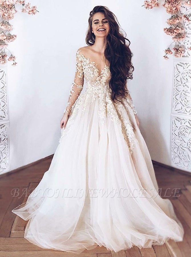Glamorous col en V à manches longues en tulle dentelle appliques princesse robe de mariée de mariage