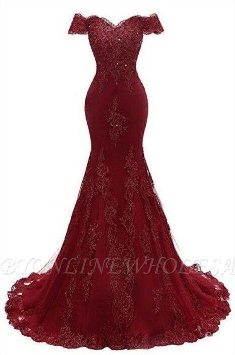 Великолепное платье для выпускного вечера Бургундии   Русалка Кружевные вечерние платья