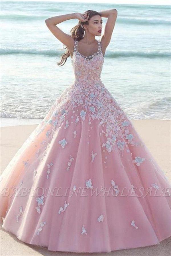 Elegante Rosa Abendkleider Blumen   Wunderschöne Spitze Abendmode A-Linie