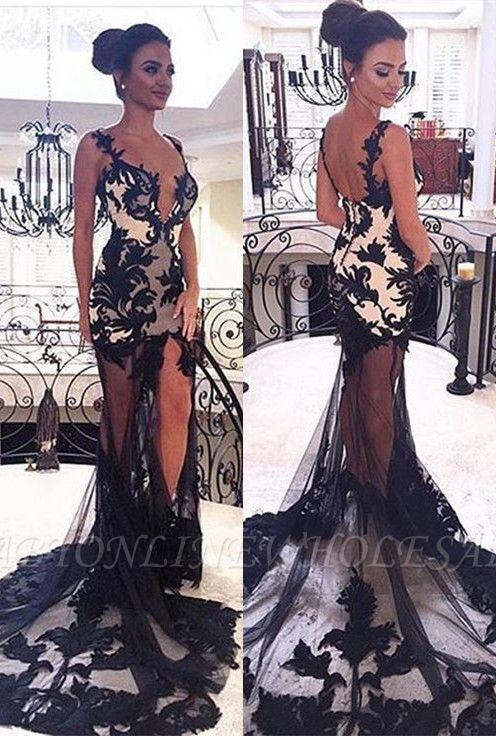 Vestidos de noche de sirena de encaje con cuello en V negro transparente transparente